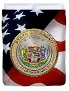 Hawaii State Seal Over U.s. Flag Duvet Cover