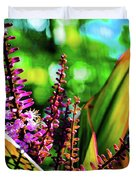 Hawaii Ti Leaf Plant And Flowers Duvet Cover
