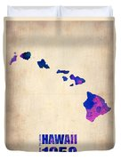 Hawaii Watercolor Map Duvet Cover by Naxart Studio