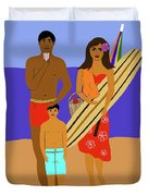 Hawaiian Family Beach Scene Duvet Cover