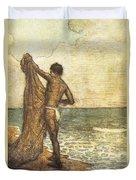 Hawaiian Fisherman Painting Duvet Cover
