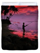 Hawaiian Fishing On Halama Beach At Sunset Duvet Cover
