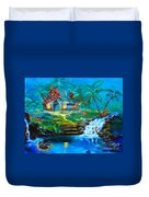 Hawaiian Hut And Waterfalls Duvet Cover