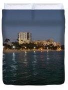 Hawaiian Lights - Waikiki Beach And Diamond Head Volcano Crater Duvet Cover