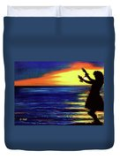 Hawaiian Sunset With Hula Dance  #183, Duvet Cover