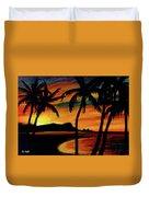 Hawaiian Waikiki Sunrise Over Diamond Head  #266 Duvet Cover