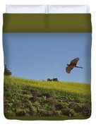 Hawk Flying Over Field Of Yellow Mustard Duvet Cover