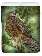 Hawk In The Evergreens Duvet Cover by Darren Cannell