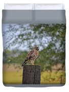 Hawk On A Fence Post Duvet Cover