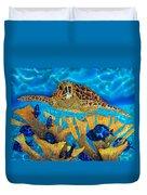Hawksbill Sea  Turtle Duvet Cover