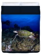 Hawksbill Turtle Swimming With Diver Duvet Cover by Steve Jones