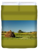 Hay Bale On A Rural Field Duvet Cover