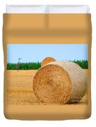 Hay Bale With Crane Duvet Cover