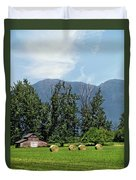 Hay Bales And A Barn - Kalispell Montana Duvet Cover