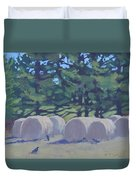 Hay Bales And Crows Duvet Cover