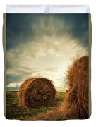 Hay Bales On Farm Field Duvet Cover
