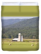 Hay Farm In The Country Duvet Cover by Danielle Allard