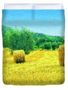 Hay Harvest In Tuscany Duvet Cover