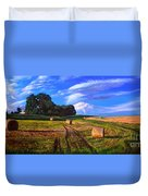Hay Rolls On The Farm By Christopher Shellhammer Duvet Cover