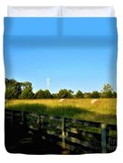 Hayfield With Distant Cell Tower Duvet Cover