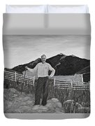 Haymaker With Pitchfork B W Duvet Cover