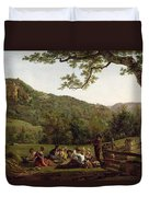 Haymakers Picnicking In A Field Duvet Cover