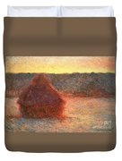 Haystacks At Sunset Duvet Cover