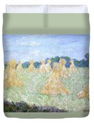 Haystacks The Young Ladies Of Giverny Sun Effect Duvet Cover