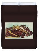 Head And Head At The Winning Post Duvet Cover