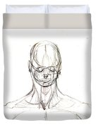 Head, Front Drawing. Duvet Cover