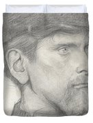 Head Of A Man With A Hat Duvet Cover