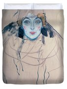 Head Of A Woman Duvet Cover by Gustav Klimt