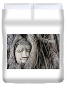 Head Of Buddha Statue In The Tree Roots Duvet Cover