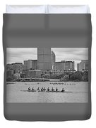 Head Of The Charles. Charles Rowers Black And White Duvet Cover