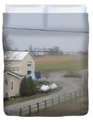 Heading To The Barn To Do Chores Duvet Cover