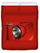 Headlamp On Red Firetruck Duvet Cover