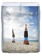 Headstand On Beach Duvet Cover
