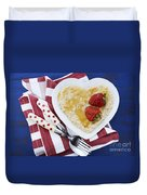 Healthy Breakfast Oats On Heart Shape Plate Duvet Cover