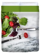 Healthy Organic Salad Flowing Out Of Plate On Natural Marble Tab Duvet Cover