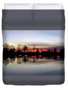 Hearns Pond Silhouette Duvet Cover