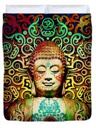 Heart Of Transcendence - Colorful Tribal Buddha Duvet Cover by Christopher Beikmann
