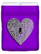Heart Shaped Lock Purple .png Duvet Cover
