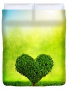 Heart Shaped Tree Growing On Green Grass Duvet Cover