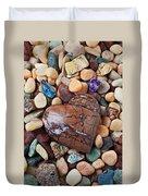 Heart Stone Among River Stones Duvet Cover