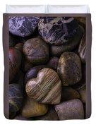Heart Stone On River Rocks Duvet Cover