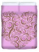 Heart With Pink Flowers And Swirls Duvet Cover