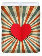 Heart With Ray Background Duvet Cover