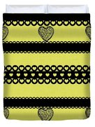 Hearts On Lime Green Duvet Cover