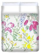 Heather And Gorse Watercolor Illustration Pattern Duvet Cover