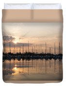Heavenly Sunrays - Peaches-and-cream Sunrise With Boats Duvet Cover